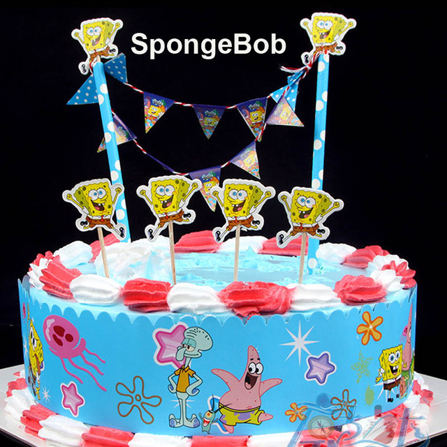 New Arrival Cute Spongebob Paper Cake Wrapper Flag Topper Cupcake