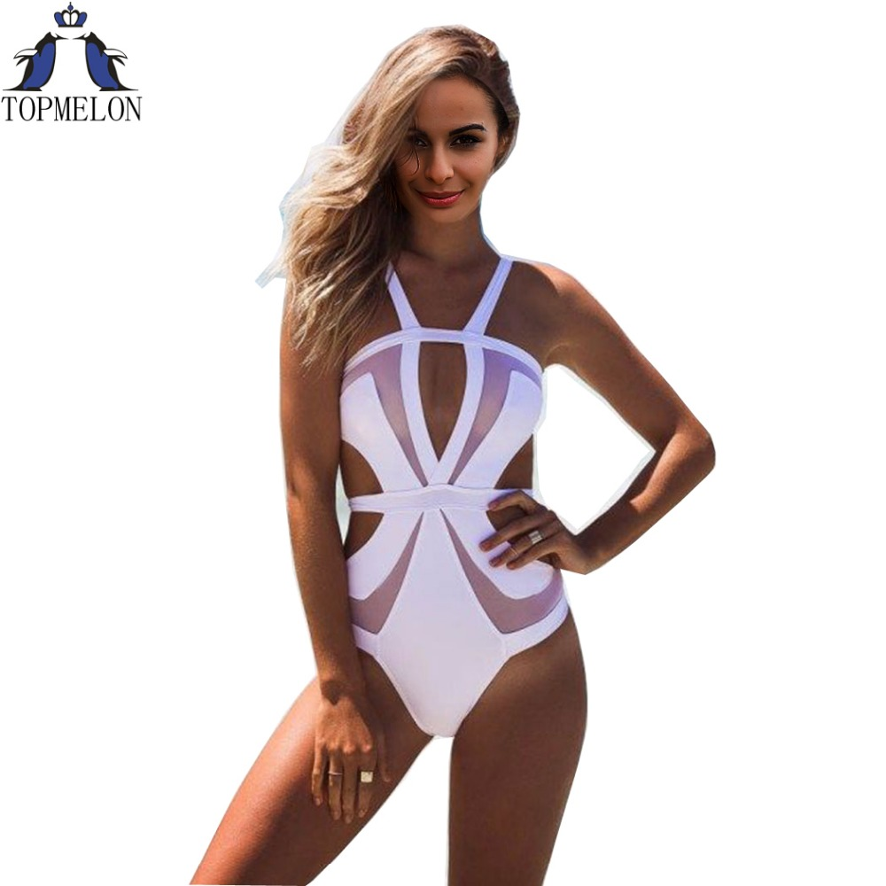 one piece swimsuit monokini biquini Beach Wear swimwear women one piece bathing suits sexy one piece swim suits for women plavky one piece swimsuit cheap sexy bathing suits may beach girls plus size swimwear 2017 new korean shiny lace halter badpakken