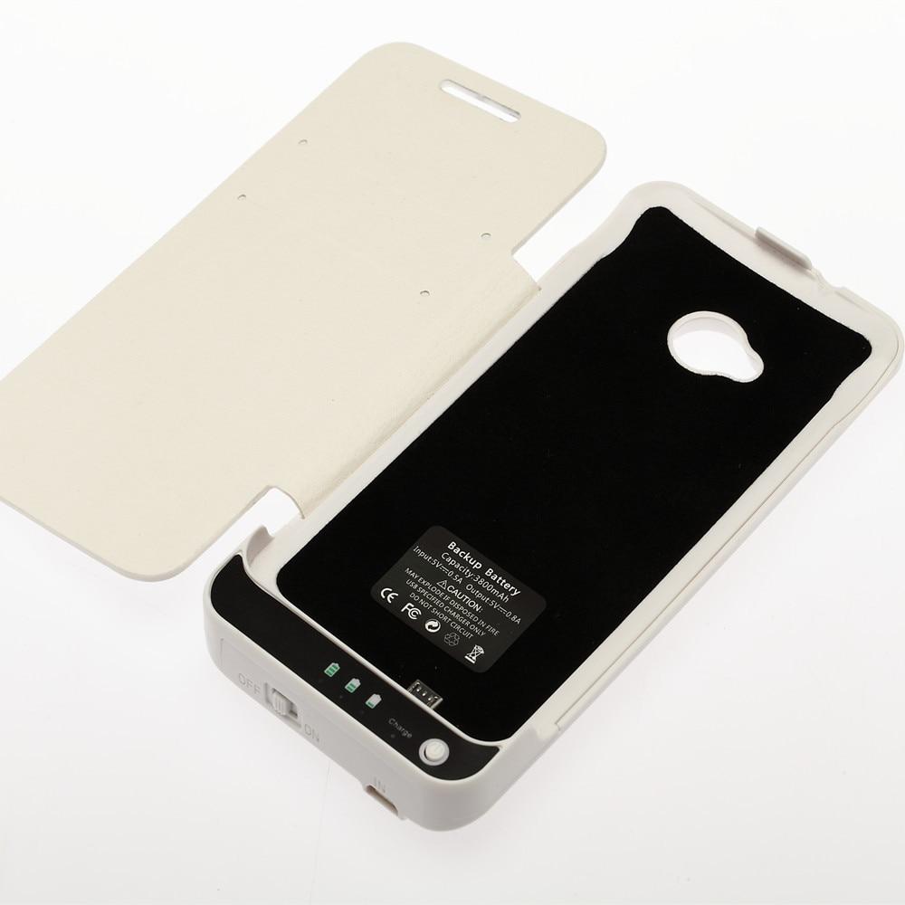 3800 mAh Cubique Texture Banque de Puissance Externe Chargeur de Batterie Couverture En Cuir Cas Capa Pour HTC One M7 801e Avec Support Noir et Blanc