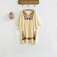 New 2015 Spring Summer Vintage 70s Mexican Ethnic Floral EMBROIDERED Hippie Blouse DRESS Women Clothing Vestidos