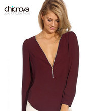 Sexy V-Neck long Sleeved Chiffon Blouse women Zipper clousure Solid color Crop Tops lady Shirt FS0221(China)