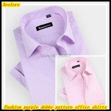 Free shipping Men's summer fashion purple dobby jacquard pattern short sleeve office formal shirts Hombres de camisa QR-1391