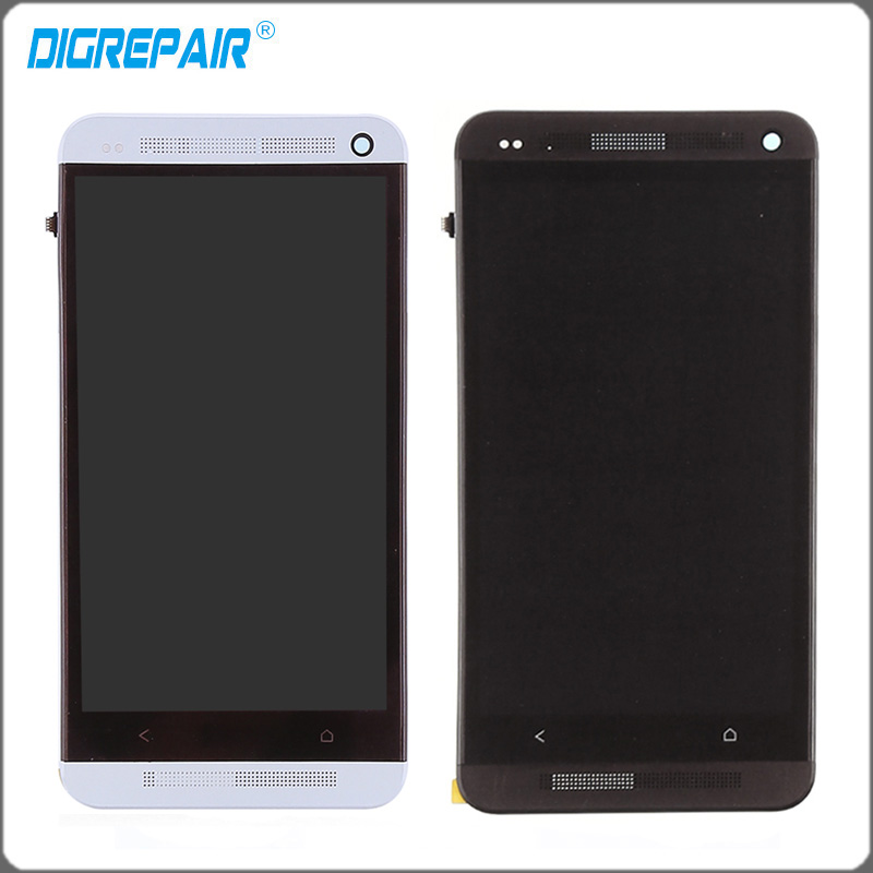 Silver Black For HTC One M7 LCD display touch screen with digitizer Bezel Frame Full Aassemble
