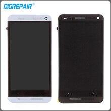 Серебристый, черный для HTC One M7 ЖК-дисплей дисплей сенсорный экран с планшета + рамка Рамки полный aassemble, Бесплатная доставка + номер отслеживания.