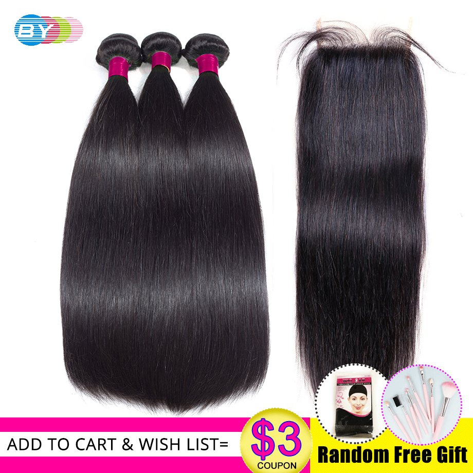 BY Brazilian Hair Weave Bundles With Closure 4Pcs Remy Human Hair Extension Natural Color 6x6 Closure