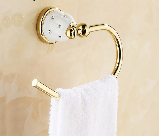 1PC European Style Brass Towel Ring Rose Gold Plated Wall Hanger Ring Bathroom Towel Holder Bathroom Accessories J2018