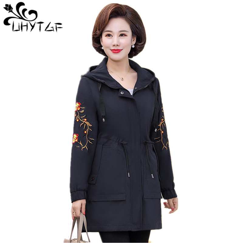 UHYTGF Women   Basic     Jackets   2019 Spring Autumn splice   Jacket   Female Casual Long Sleeves Coats 4XL Plus size Mother coats tops 264