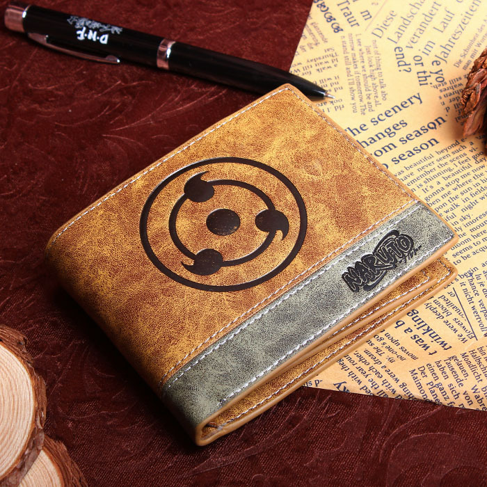 PU wallet printed with Japan Anime NARUTO Uchiha Itachi/ sasuke write round eye pu short wallet w colorful printing of naruto shippuden uchiha itachi