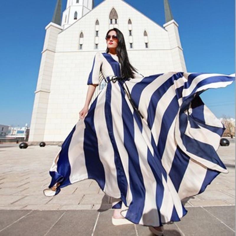 2017 Maxi Dress Women Elegant Long Dress Striped Chiffon the Big Pendulum Runway Looks Summer Beach Sexy Clothes