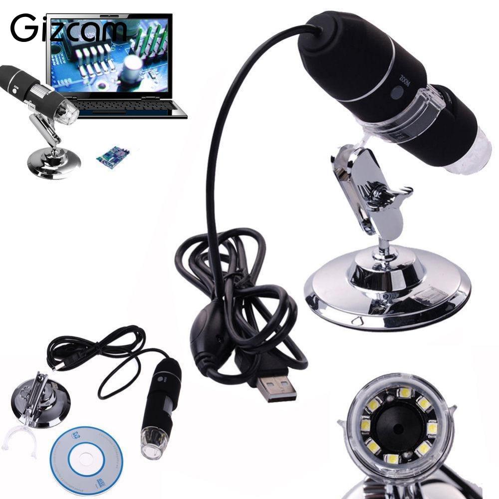 Gizcam Mini Camera 2MP 1000X 8LED USB Digital Microscope Zoom Video Camera Magnifier +Stand free shipping 1000x 2mp usb digital microscope with holder stand 8led digital microscope magnifier 1pcsvetus tweezers