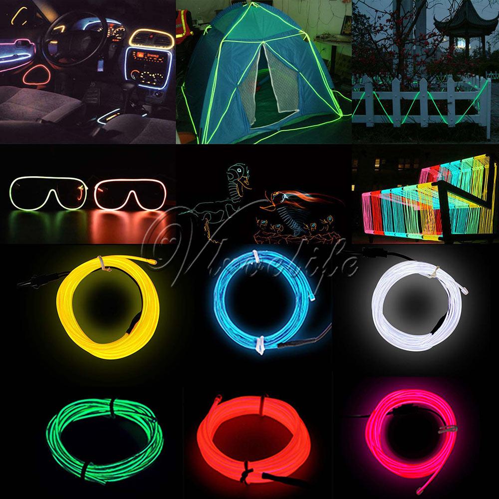 3 Mt EL Draht Seil Flexible Neon LED Licht Glow Batterie Hochzeit ...