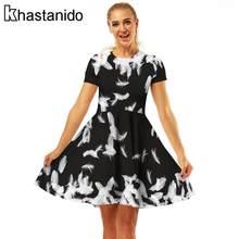 68d756243d Fashion Feather 3d Print Black Women Party Dresses A-Line Pleated Beach  Korea Ukraine Dress Casual Plus Size Sundresses