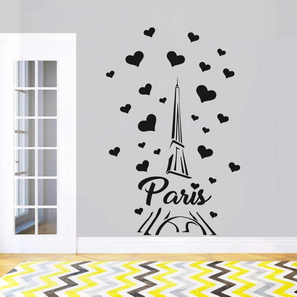 Paris France Tower Wall Decal Love Heart Design Wall Sticker Home