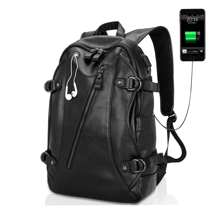 Men Backpack men Travel Bag male school bags External USB Charge backpack Large Capacity pu leather backpack High Quality