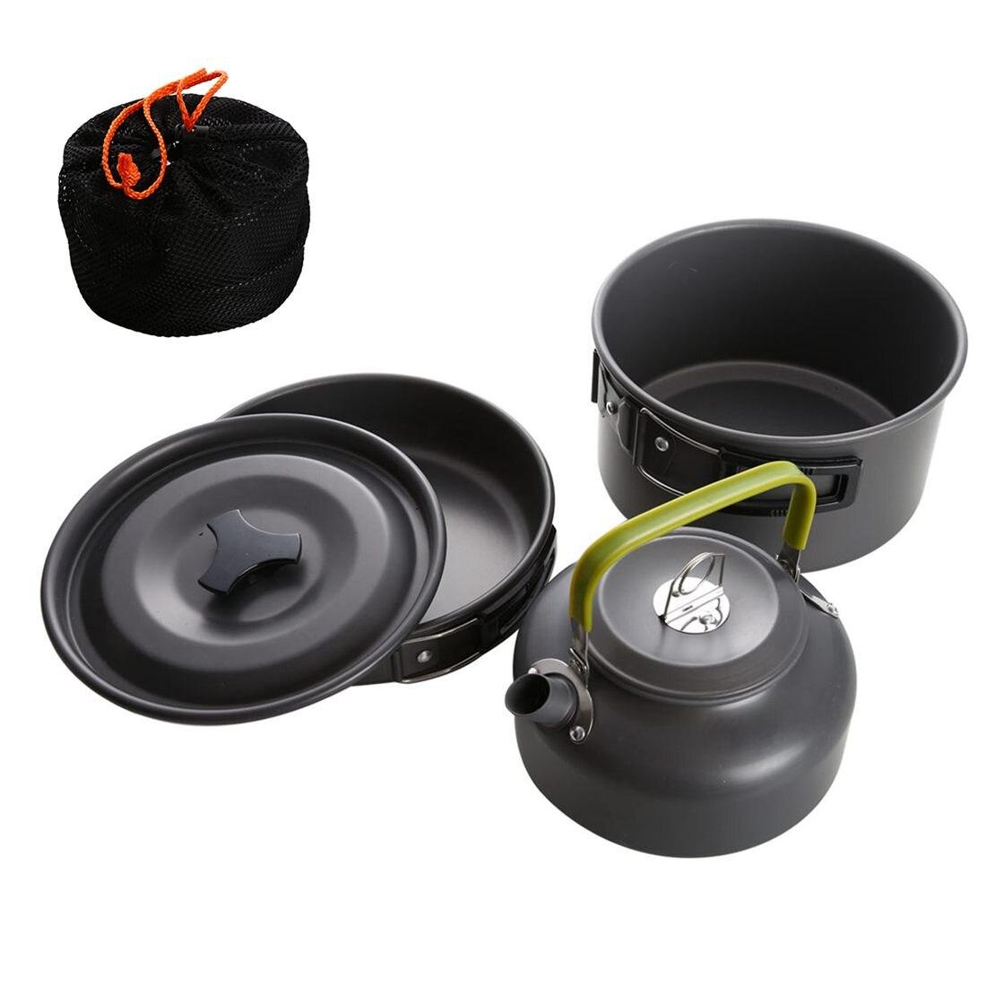 Portable Camping Pot casserole bouilloire ensemble en alliage d'aluminium en plein air vaisselle ustensiles de cuisine 3 pièces/ensemble théière outil de cuisson pour pique-nique barbecue