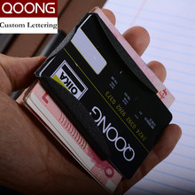 QOONG Custom Lettering Stainless Steel 3 Color Slim Sleek Money Cash Clip Clamp Double Sided Credit Card Holder QZ40-006
