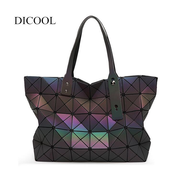 DICOOL 2018 Hotselling Luminous Bag Women Baobao Bag Geometry Handbag Holographic Laser Shoulder Bag BAO BAO