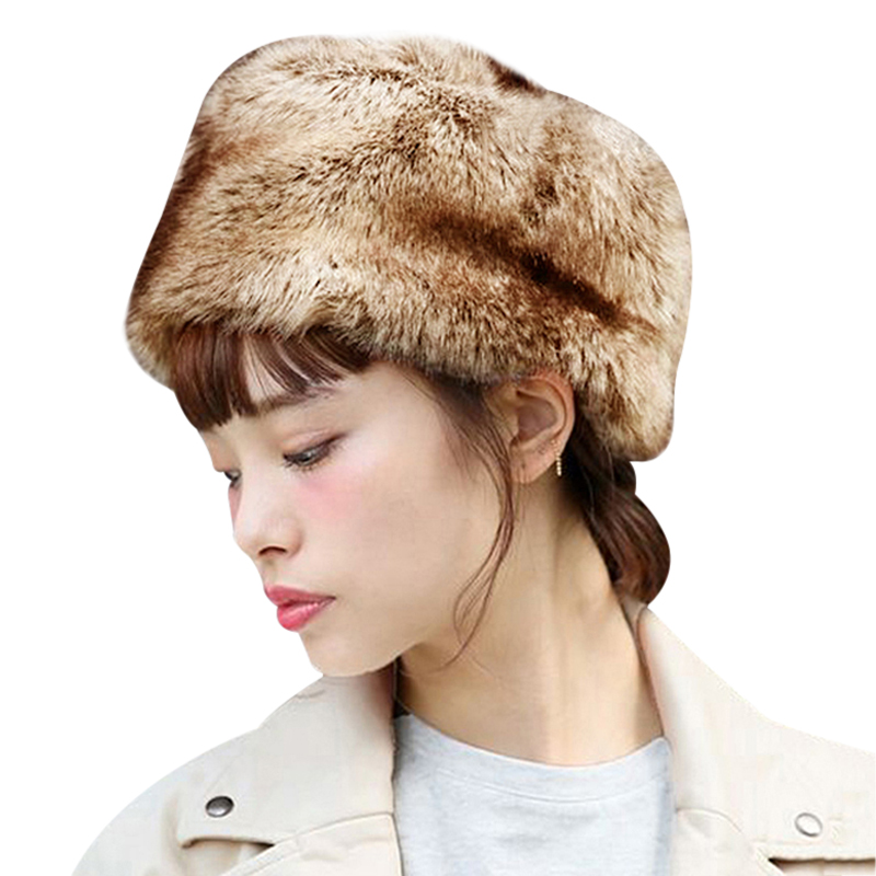 Fur Hats Russian Warm Faux Snow Hat for Men Casual with Earflap Thicken Bonnet