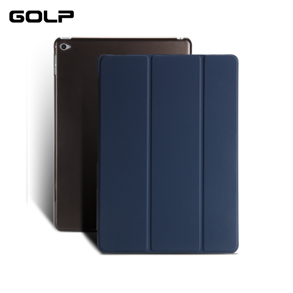 for ipad air 2 case, GOLP PU Leather Case for ipad 6,for ipad air 2 smart over with transparent PC Back Flip Case Stand for ipad air case dowswin pu leather smart case for ipad air cover with pc hard back stand flip case for ipad air 1 cases