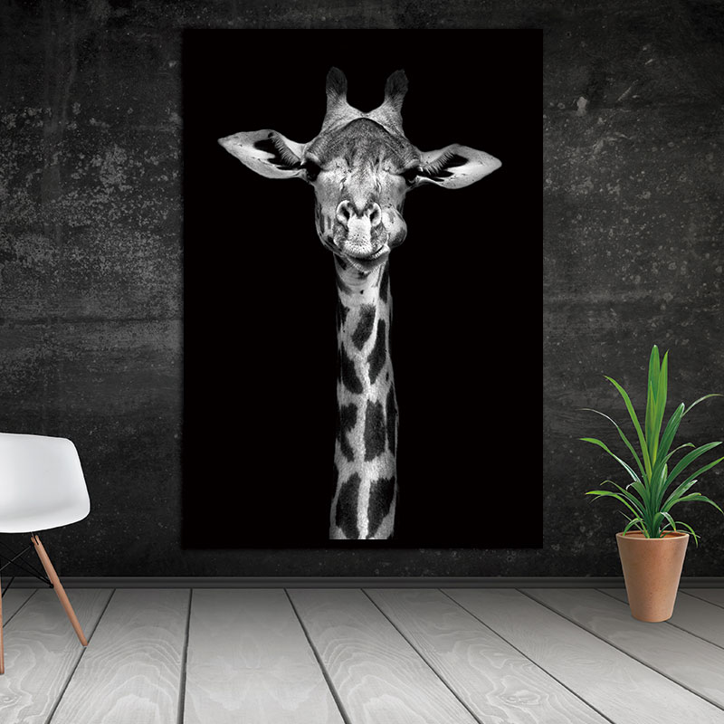 Nordic HD Animal Canvas Painting Wall Black And White Wall