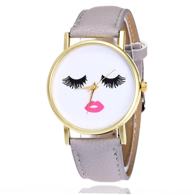 Fashion casual sports lady Eyelash pattern Leather watch Ultra-thin PU neutral Quartz watch For women Gifts Dropshiping