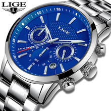 купить LIGE Men Watches 2018 Top Brand Luxury Men's Military Sports Watch Mens Stainless Steel Waterproof Quartz Watch Reloj Hombre+Box по цене 1479.78 рублей