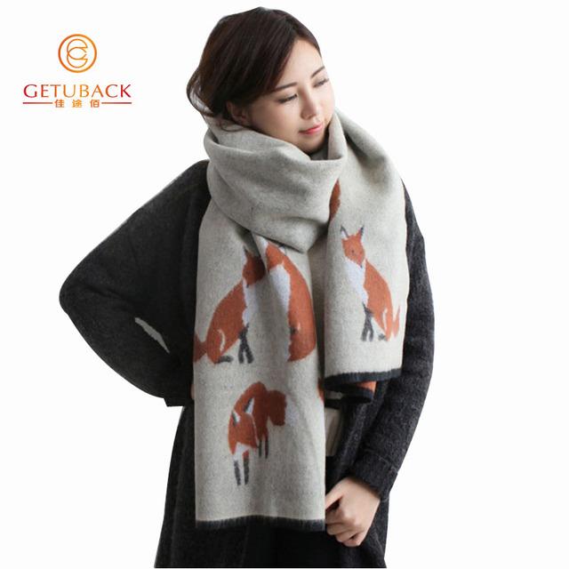 Mulheres lenços de inverno 2016 faux cashmere fox moda grosso quente 200*65 cm lenços das senhoras KK103