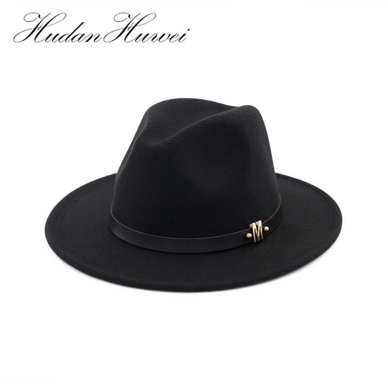 Trend M Letter Leather Decoration Wool Felt Jazz Fedora Hats Men Women Flat  Brim Panama Gambler 116cc0e886d2