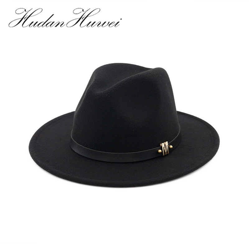 6be7f6caa8b Trend M Letter Leather Decoration Wool Felt Jazz Fedora Hats Men Women Flat Brim  Panama Gambler