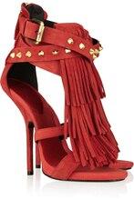 Rot/Braun Quaste Frauen Sandale Stilettos Schuhe Frauen Sandale Offene spitze Made-To-Order Plus Größe 14 Stilettos Rabatt Kleid Schuh