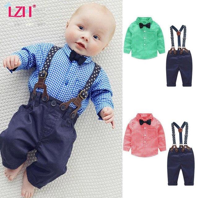 LZH Newborn Clothes 2017 Autumn Winter Baby Boys Wedding Gentleman Grid Shirt Denim Overalls