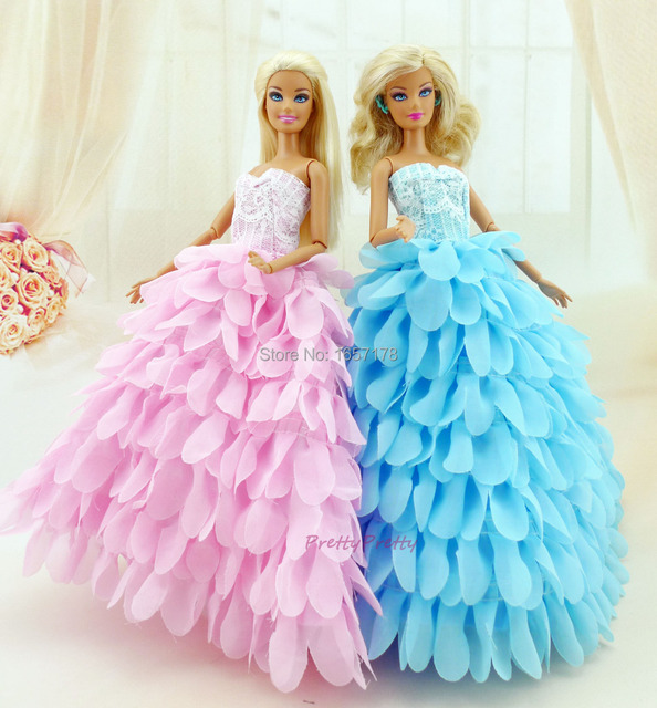 Two Colour New Style Handmade Wedding Gown Princess Dress Party Outfit Clothes For Barbie Doll S