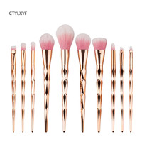 CTYLXYF 10Pcs Professional Makeup Brushes Set Beauty Cosmetic Eyeshadow Lip Powder Face Pinceis Tools Kabuki Brush