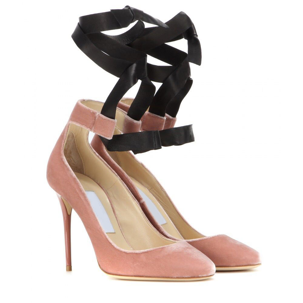 Hongyi new year spring sweet pink black suede leather shallow cut stiletto heel dress pumps ankle strap lace up party shoes new arrivals pale pink shiny leather kawaii rabbit ankle strap sweet lolita shoes 5 5cm heel pumps