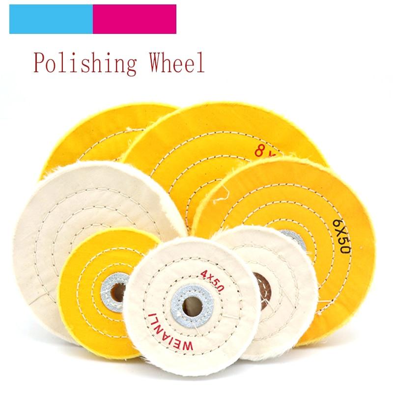 Moedor de rodas de polimento de algodão, moedor abrasivo para polimento de rodas de pano de 2 a 8 polegadas, joias de ouro e prata, madeira de metal, 1 peça ferramentas,