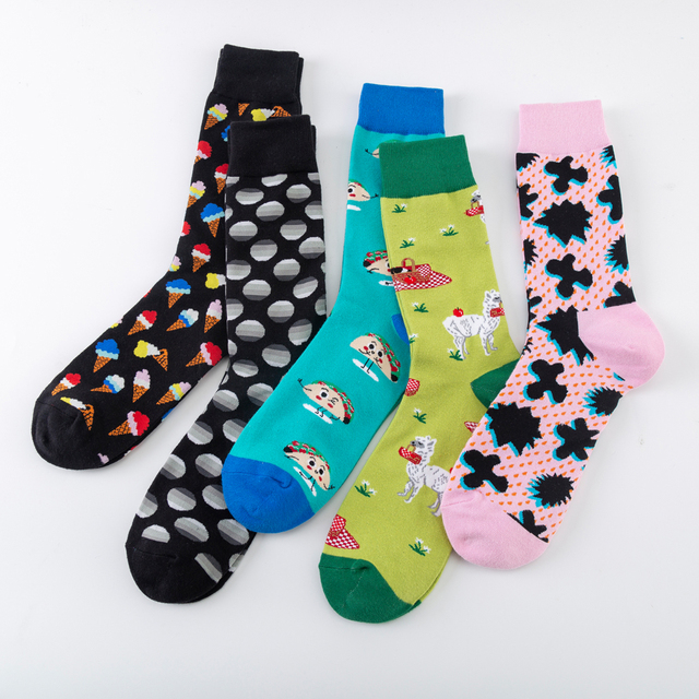 Funny Men's Cotton Socks Harajuku Creative Alpaca Puzzle Ice cream Pattern Fashion Crew Socks Novelty Dress Wedding Socks 2
