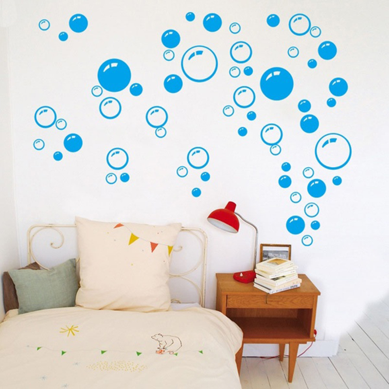 Home wall decor black hot pink blue bubble wall sticker - Stickers para decorar paredes ...