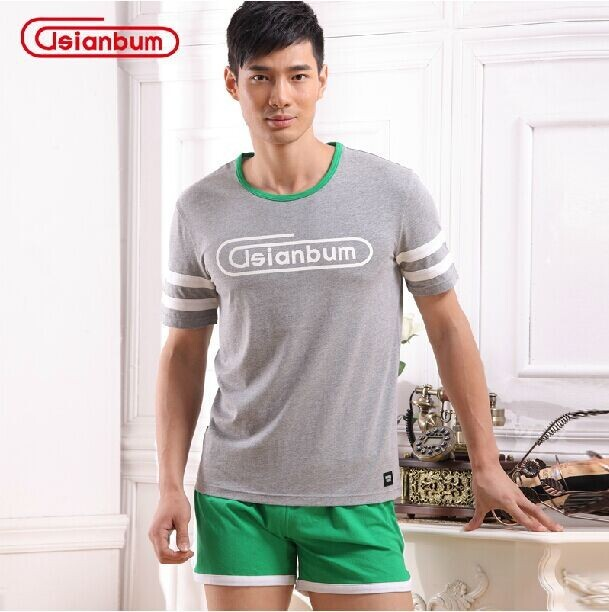 Asianbum Men's cotton Home Furnishing suit Asianbum brand authentic home wear shirts and shorts set
