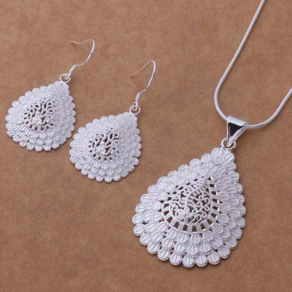 AS305 Lucky Silver Color 925 Jewelry Sets For Women Earring 418 + Necklace 202 /bonakfua Amnajdua
