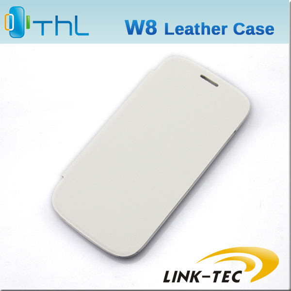 Free shipping THL W8 Durable Protective Flip case PU leather case White Gray