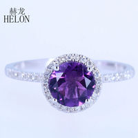 HELON Solid 14K White Gold Flawless 6.5mm Round Genuine Amethyst Natural Diamonds Engagement Wedding Trendy Fine Jewelry Ring