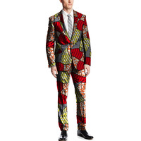 African print blazers with trousers for men fashion patterns wax dashiki suits tailor made blazer+pant set wedding outfits