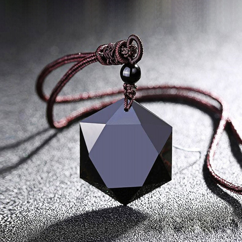 Black Energy Stone Obsidian Magen David Star Pendant Necklace Sweater Chain Hexagram Statement Necklace Drop Shipping