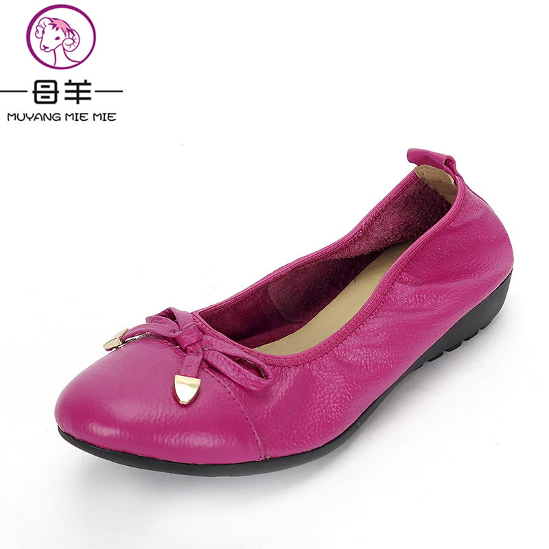 MUYANG Chinese Brand Women Genuine Leather Flat Shoes Woman Loafers,Women Shoes Handmade Maternity Casual Shoes Women Flats summer women flats shoes casual flat women shoes slips flat women loafers shoes slips leather black flat s women s shoes