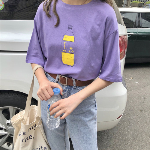 Simple Chinese Letter Purple Causal College Wind Printed 2018 New Light Short Sleeve Cotton Female Tees