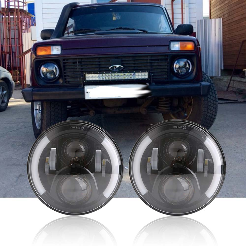 2pcs 7Inch LED Headlamps with Halo Ring Amber Turn Signal For <font><b>lada</b></font> niva 4x4 suzuki samurai 7