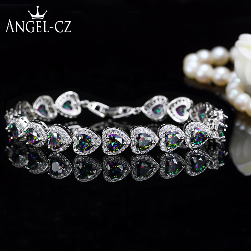 ANGELCZ Nigerian African Style Special Multicolor Heart Österrikiska Crystal Pave Women Sterling Silver Hand Armband Bangles AB037