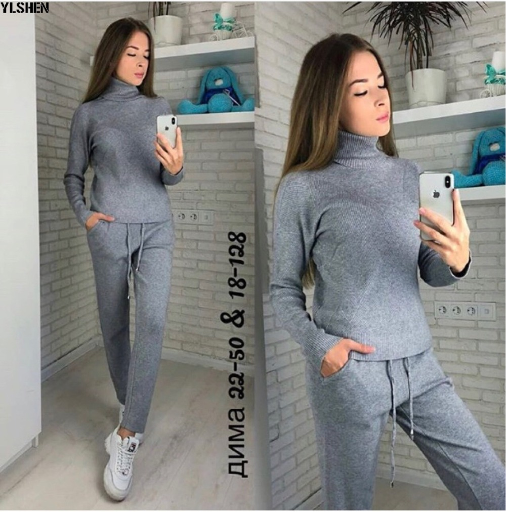 2 Two Piece Set Sweater Women Autumn Winter Knitted Tracksuit Turtleneck Sweaters Suit Outfits Knit Tops + Pants Matching Sets 21