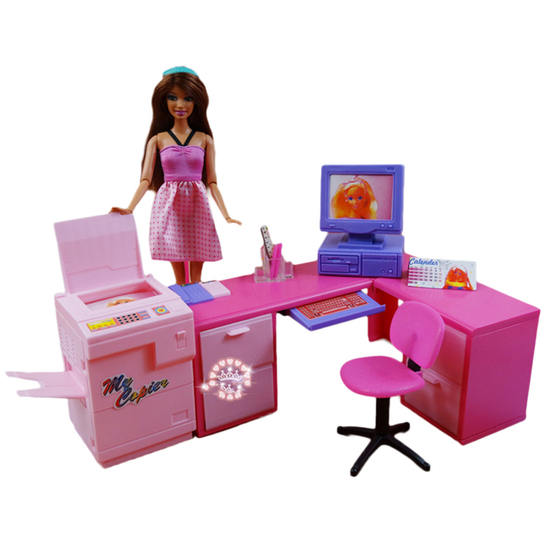 DIY Office Computer Desk Combination Printer Play set for Barbie Office Supplies Phone Accessories for Barbie Toys for Children