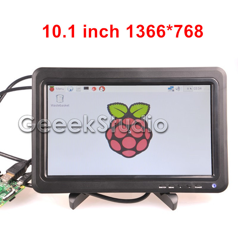 10.1 LCD Monitor Display 1366*768 Screen Panel with Remote Control for Raspberry Pi 3 / 2 Model B / B+ / A+